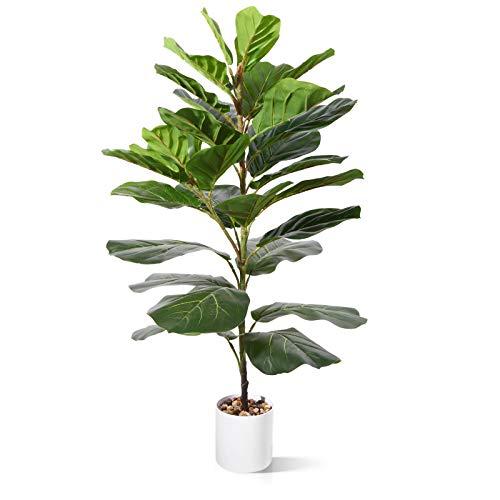 CROSOFMI Plantas Artificiales Exterior Ficus Lyrata 95 cm Plantas de Plastico Grande Hogar Decoracion Salon Dormitorio con Balcón (1 PACK)