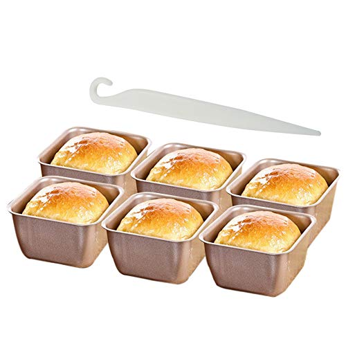Flunyina Mini Square Beard Loaf Pan 2.75″ with a Demolding Tool, 6pcs Non-stick Releasing Coating Small Carbon Steel Cupcake Mold