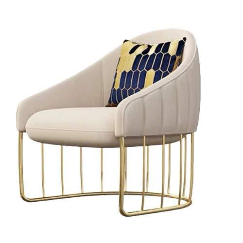 ZSAIMD Modernas Terciopelo sillas Decorativas sillas de Comedor Silla sillas sofá cómodo tapizado de Tela de Lino Brazo sofá Silla con Estructura de Metal de Oro
