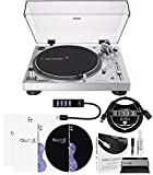 Audio-Technica AT-LP120XUSB USB Direct-Drive Turntable (Silver) Bundle with Blucoil Type-A Hub, 3-FT USB 2.0 Type-A Extension Cable, 2-in-1 Vinyl Cleaning Kit, Turntable Slipmat, and LP Inner Sleeve