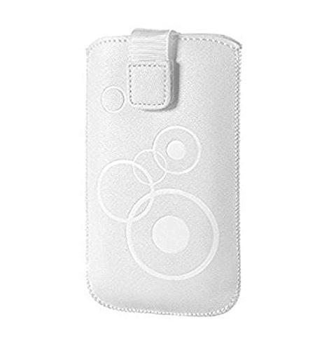 Gütersloher Shopkeeper - Funda protectora para BQ Aquaris U Plus (cierre de velcro y trabilla para cinturón), diseño con círculos, color blanco