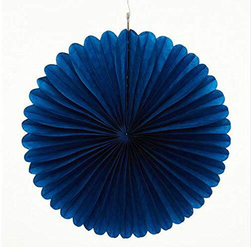 Sorive 5pcs 16' Tissue Paper Fan Party Hanging Fan Flower Wedding Birthday Showers Party Baby Shower Decorations (16 Inch, Navy Blue)