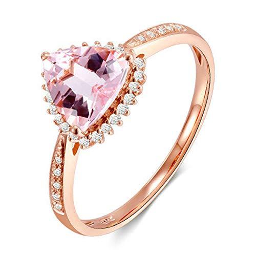 AMDXD Anillo de Oro de 18 Kilates, Anillos Boda Triangular Morganita 0.9ct con 32pcs Diamante, Oro Rosa, Tamaño 22 (Perímetro: 62mm)