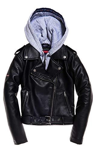 Superdry Damen Pu Hooded Biker Mantel Schwarz (Black 02a) Medium (Herstellergröße: 12)