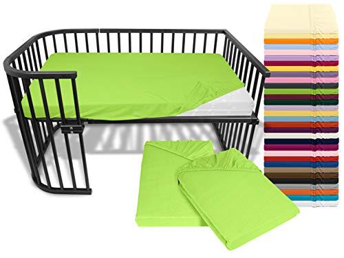 npluseins Doppelpack Bettlaken für Kinder- und Babybettmatratzen 175.188, ca. 60 x 120 cm, apfelgrün