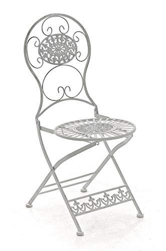 CLP Eisen-Klappstuhl MANI Vintage I Antiker handgefertigter Gartenstuhl aus Eisen I erhältlich, Farbe:antik weiß
