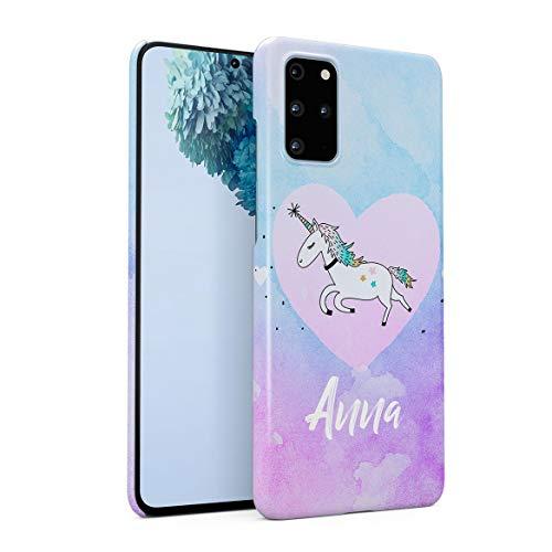 Personalizzato Custodia in Plastica Rigida per Samsung Galaxy S20 Plus Custom Name Surname Initials Letter Text Customized Pink Purple Unicorne Rainbow Candy Dream Unicorno Cover Protettiva
