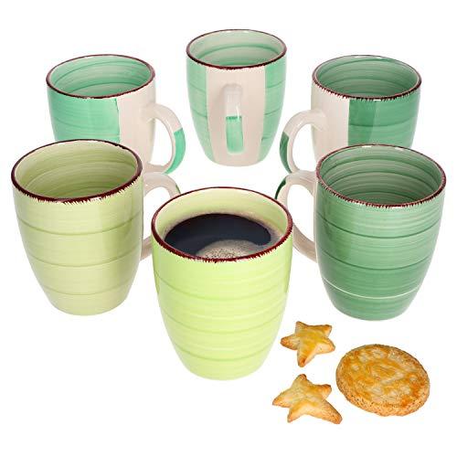 MamboCat 6er Green Baita Kaffeetasse grüner Landhausstil I 350 ml I Tee-Pott I Rustikale Optik I Kaffeebecher