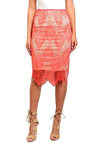 2LUV Falda de encaje de ganchillo con cintura alta para mujer - Rosa - Small