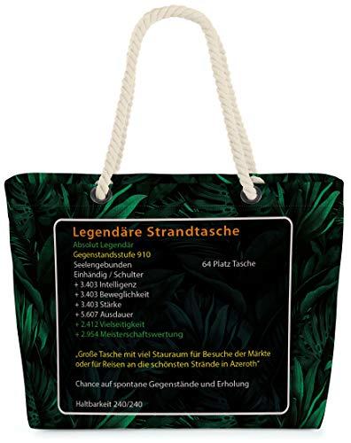 VOID XXL Legendäre Strandtasche Shopper Tasche 58x38x16cm 23L Beach Bag Wow mythisch Spieler Gamer Game, Kissen Farbe:Grün