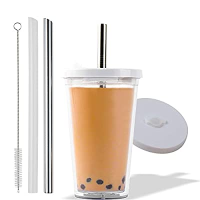 Reusable Boba Cup for Regular Size Bubble Tea (16 Oz), Available in 2 Sizes, Angled Straws, Leak Proof Design, Double Wall Insulated Bubble Tea Cup