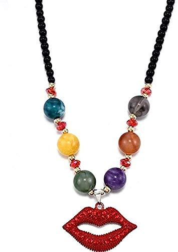 qiangloushui Collar Collar Collar De Labios Rojos De Moda Joyas De Diamantes De Imitación para Mujer Collar De Suéter Collar De Cadena De Estilo De Moda para Regalos De Fiesta