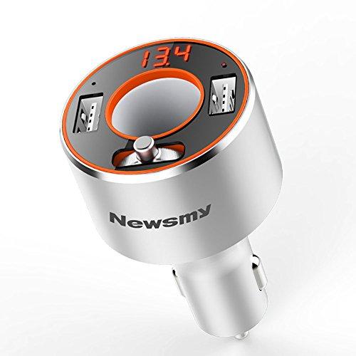 FJW Transmetteur FM Lecteur MP3 De Voiture Bluetooth Adaptateur Radio Kits De Voiture Mains Libres Transmetteur Bluetooth pour Voiture Double Charge Rapide USB avec Affichage LED