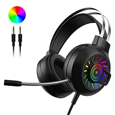 3.5mm Stereo Surround Gaming Headset, Rainbow Fixed LED Backlit Wired Headset