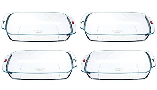 Pyrex Reflections - Set of 4 Large Glass Rectangular Roasters - L40 x W25 x H6.5 cm, 3.9L (Kitchen & Home)