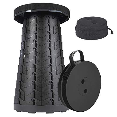 ONVAYA® Ausziehbarer Klapphocker | Faltbarer & höhenverstellbarer Campinghocker | Mini Outdoor Hocker | Falthocker für Kinder & Erwachsene (Schwarz mit Kissen)