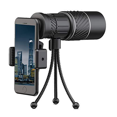 CONRAL 10x40 / 12x50 / 16x52 Monocular Telescope, High Power Prism Monoculars Scope mit Smartphone-Halterung und Stativ für die Jagd Camping Wandern Reisen Sightseeing,16x52