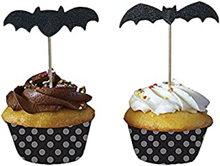 Halloween Cupcake Muffin Toppers Bat Design, 48 Pcs, Mixed Packaging by PARTYMASTER