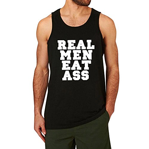 WINGZOO Workout Tank Top for Men-Real Men Eat Ass Mens Funny Saying Fitness Gym Racerback Sleeveless Shirts Black