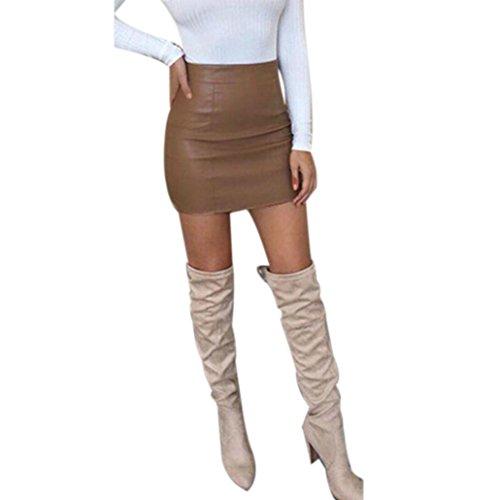 Zarupeng Damen Bodycon Hüfte Minirock, Hohe Taille Bleistift Kurzer Röcke aus PU Leder | Einfarbig Slim Fit A-Linie Bleistiftrock (XL, Braun)