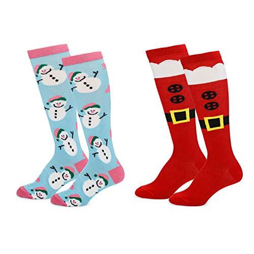 Womens Fun Colorful Festive Novelty Holiday Christmas Hanukkah Socks-Knee Highs-2 Pairs-OSFM Shoes (4-10)-Santa Boots/Pink-Blue Snowman