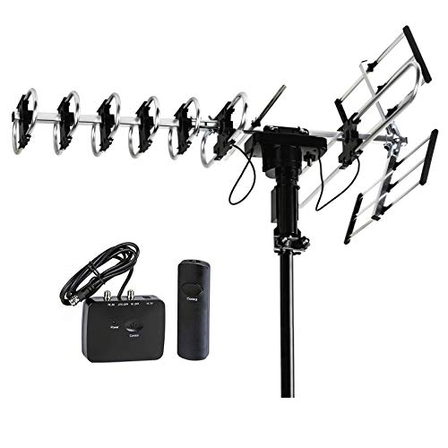 FiveStar Outdoor HD TV Antenna 2019 Newest Model Up to 200 Miles Long Range with Motorized 360 Degree Rotation, UHF/VHF/FM Radio with Infrared Remote Control Advanced Design