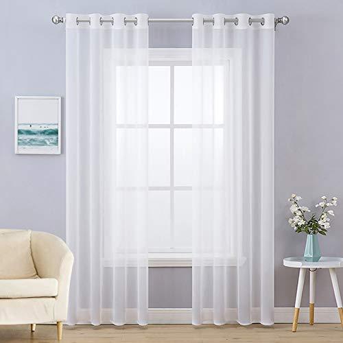 MIULEE 2er Set Voile Vorhang mit Ösen Transparente Gardine aus Voile Polyester Ösenschal Transparent Wohnzimmer Luftig Dekoschal für Schlafzimmer Weiß 225 x 140cm (H x B), Grommet Top