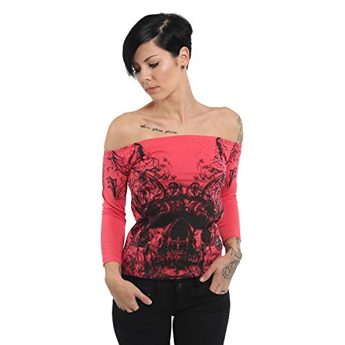 Yakuza Damen Ornamental Skull Off Shoulder Shirt Longsleeve