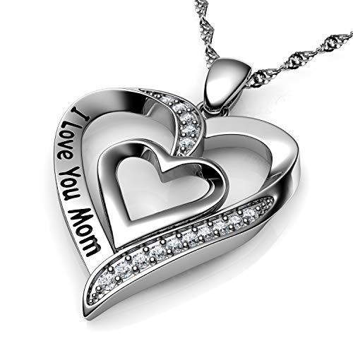 DEPHINI – Collar de plata de ley 925 – I Love You Mom – Colgante de corazón para mamá con cristales de circonita cúbica – Collar para el Día de la Madre – Cadena de plata chapada en rodio de 45 cm