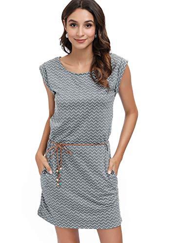 DOTIN Damen Freizeitkleid Sommer Kleid Knielang