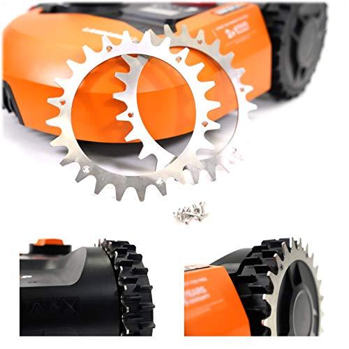 - BEOS - 2x PREMIUM EDELSTAHL Spikes für Modell Worx Landroid S/M + 12x Edelstahl Schrauben- Traktionsverbesserung für Mähroboter – Rasenmäher Roboter Radgröße 205 mm – Worx Landroid Zubehör