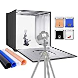 """Neewer Photo Studio Light Box, 24"""" × 24"""" Shooting Light Tent with Adjustable Brightness, Foldable and Portable Tabletop Photography Lighting Kit with 120 LED Lights and 4 Colored Backdrops"""