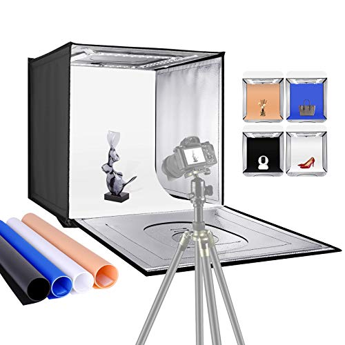 """lighting ever light boxes Neewer Photo Studio Light Box, 24"""" × 24"""" Shooting Light Tent with Adjustable Brightness, Foldable and Portable Tabletop Photography Lighting Kit with 120 LED Lights and 4 Colored Backdrops"""