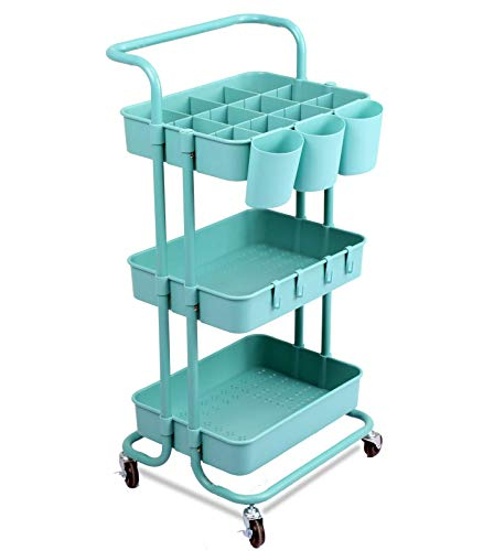 VARMHUS 3-Tier Rolling Utility Cart, Multifunction Storage Cart with Wheels,Easy Assembly Craft Art Rolling Utility Cart for Kitchen, Bathroom, Office, Coffee Bar (Blue)