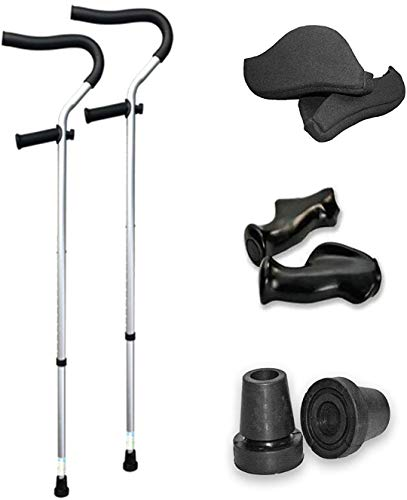 The Life Crutch - Universal Crutch| Ergonomic Handles | Articulating Tips | Supports up to 300 lbs | for Adults and Children with Heights 4'6' - 6'7' (Crutch Pads, Ergonomic Handles & Extra Tips)