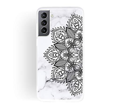 ChoosEU Compatible con Funda Samsung Galaxy S21 Plus 5G Silicona Dibujos Mármol Creativa Carcasas para Chicas Mujer Hombres, TPU Case Antigolpes Bumper Cover Caso Protección - Flor Negra