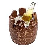 SMEJS Cubo de Hielo Vintage, Vino Champagne Cubo de Madera Sólido Bebida de Doble Pared Barware Vino Vino Contenedor-Marrón