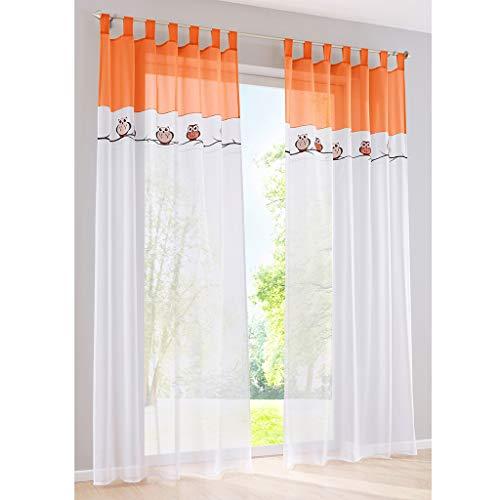 SIMPVALE 2 Paneles Cortinas Visillos con Trabillas Cortina de Búho BordadoTranslúcido para Dormitorio Habitación Balcón Salón, Naranja, 140x175cm