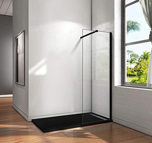 Mamparas de Ducha Pantalla Panel Fijo Perfil Negro Cristal Antical 8mm Barra 73-120cm - 160x200cm