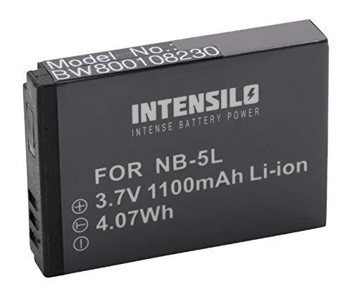 INTENSILO Li-Ion Akku 1100 mAh (3.7V) für Kamera Camcorder Video Canon POWERSHOT SX120 is, SX200 is, SX210 is, SX220 HS, SX230 HS wie NB-5L.