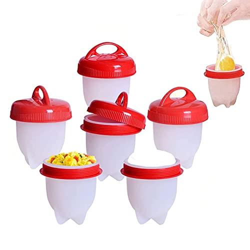 WYCCC Cuociuova in Silicone, 6 PCS Cuoci Uova Sode Senza Guscio in Antiaderente, Casa e Cucina Accessori per Uova Sode Egg Cooker BPA Free