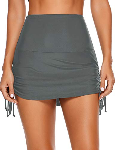 LookbookStore Women's Summer Holiday Grey High Waisted Swim Skirted Bikini Bottom Tie Side Tankini Skort Swimsuit with Briefs Size XXL 20 22