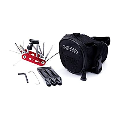 WOTOW Bike Repair Tool Kits Saddle Bag Bicycle Repair Set with Cycling Under Seat Packs 14 in 1 Multi Function Tool Kit Chain Splitter (Red 14 in 1 + 1L Bag)