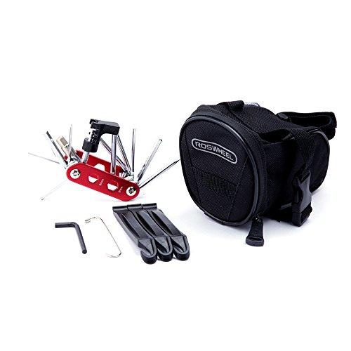 WOTOW Bike Repair Tool Kits Saddle Bag Bicycle Repair Set with Cycling Under Seat Packs 14 in 1 Multi Function Tool Kit Chain Splitter (Red 14 in 1 + 1L Bag)