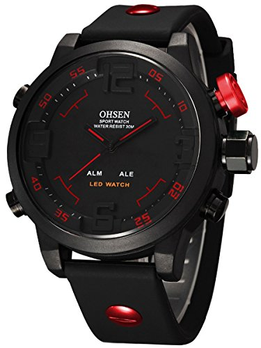 Alienwork DualTime Analog-LED Armbanduhr Herren Damen schwarz Kautschuk-Armband Kalender Chronograph Sportlich