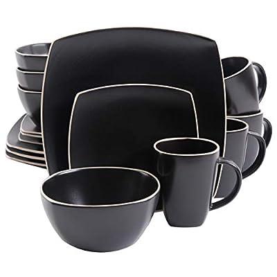 Gibson Elite Soho Lounge Matte Glaze 16 Piece Dinnerware Set in Black; Includes 4 Dinner Plates; 4 Dessert Plates, 4 Bowls and 4 Mugs