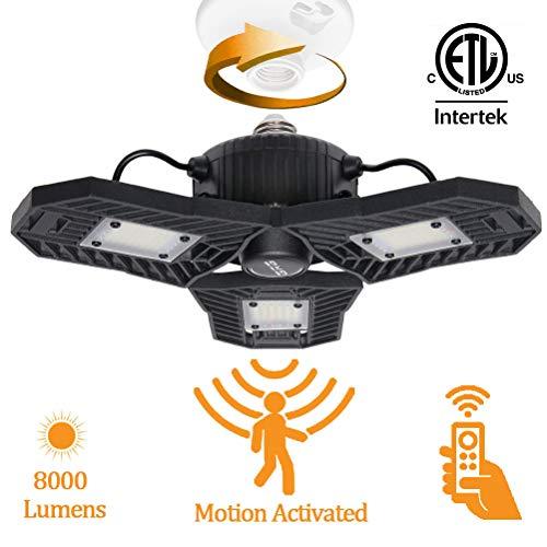 Motion Activated LED Ceiling garage Light, Adjustable Motion Sensor Sensitivity with Remote Control,Deformable 60W Trilights Lamps,E26/E27 6000LM 6000K Daylight Corn Bulbs,Radar Home Lighting for Gara