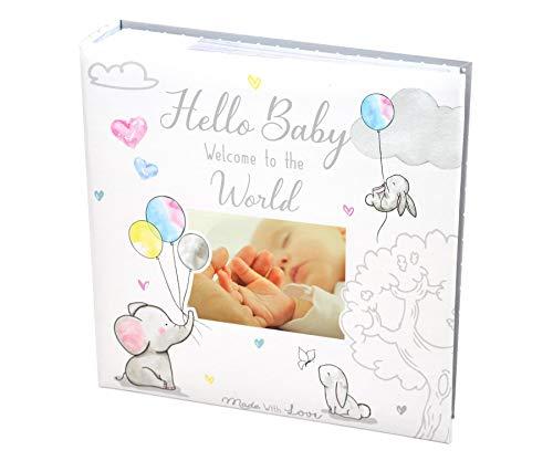 Álbum de fotos para bebé de 4 x 6 pulgadas, 200 fotos, color blanco, unisex, para bautizo de cumpleaños