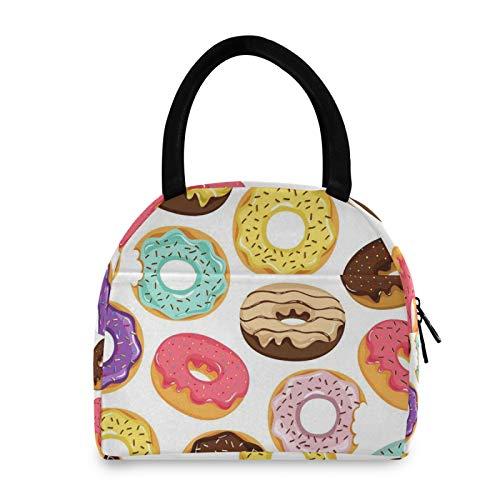 FELIZM Bolsas de almuerzo coloridas con patrón de donut aislante, reutilizable, bolsa de almuerzo portátil para oficina, escuela, picnic, viajes al aire libre