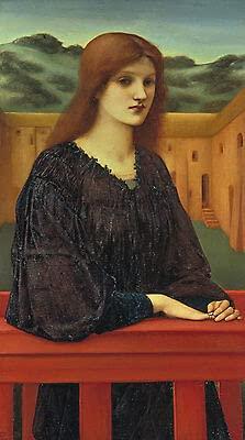 Kunstdruck Vespertina Quies Edward Burne-Jones Vestido de mujer con anillo de muro de montaña B A3 01555